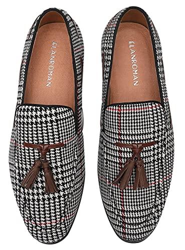 ELANROMAN Velvet Loafers Men Dress Tassels Shoes Houndstooth Slipper Slip-on Party Wedding Dance Prom Shoes US 9 EUR 42 Feet Lenght 285mm Black/White