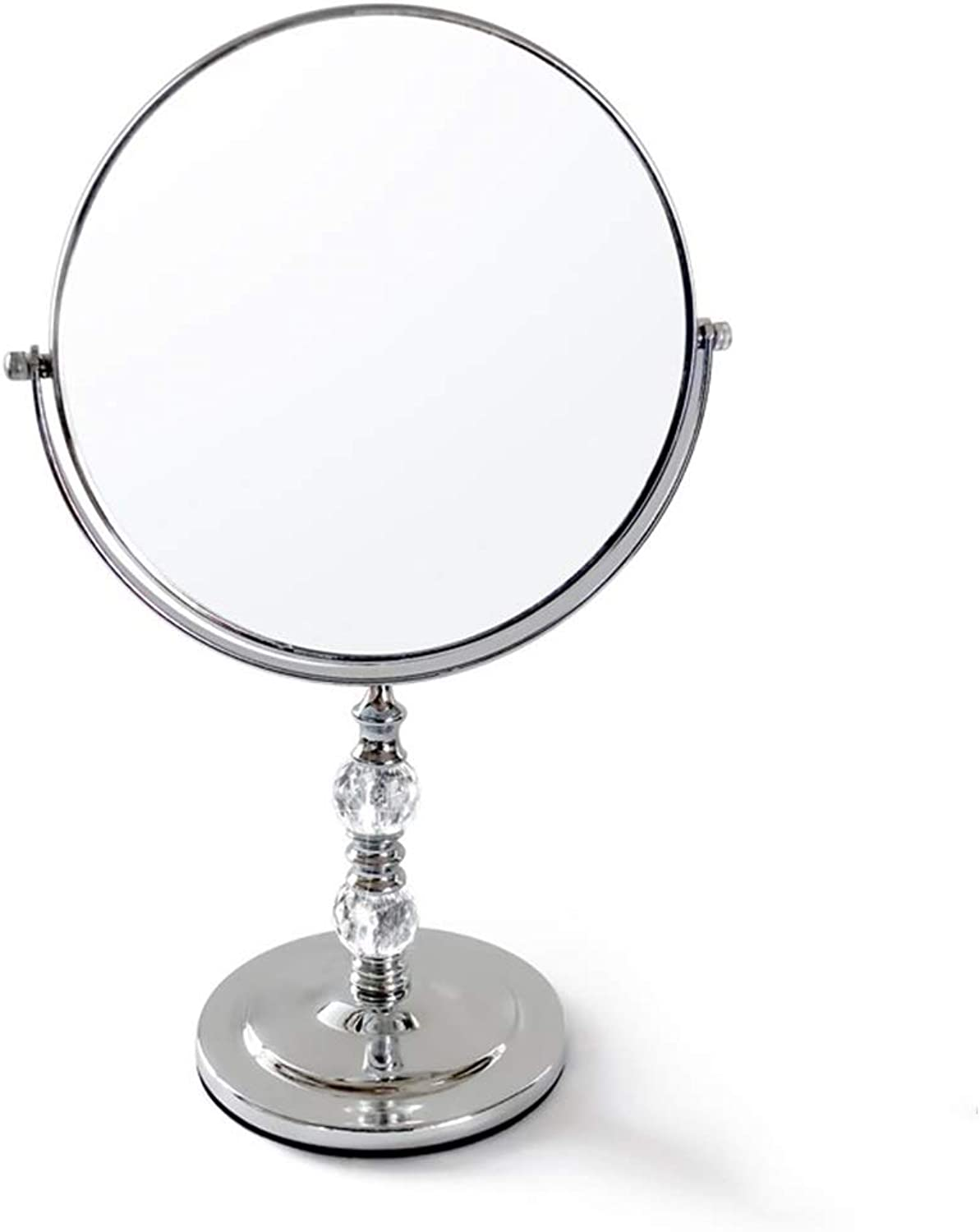 Makeup Mirror with Travel, Double-Sided HD Desktop Portable Mirror Vanity Mirror 360° Swivel Magnifying Mirror (color   with Crystal, Size   20.5  33cm)