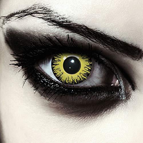 """Designlenses, Dos lentillas de color amarillo para Halloween Pennywise disfraz de doce mes sin dioprtías/corregir + gratis caso de lente """"Yellow Fear"""