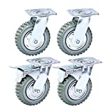 Nisorpa 8 inch Caster Wheels Heavy Duty 4 Pack Anti-Skid Rubber Swivel Caster Mute with 360 Degree Ball Bearing Castors Top Plate 2PCS Locking Swivel Casters 2PCS Without Brake