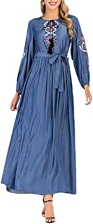 Macondoo Womens Slim Fit Muslim Long Sleeve Swing Abaya Embroidery Midi Dress