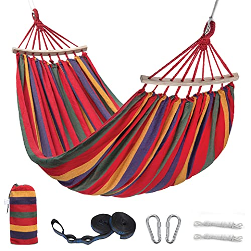 Thecozymonkeys Cotton Double Hammock - 2 Person Hammock for Indoor Outdoor Garden Patio - Cotton Fabric with Portable Bag 2 Tree Straps 2 Premium Carabiners Rope Spreader Bar and Steel Hooks
