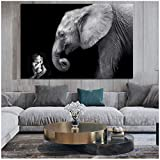 un known Cuadros Decoracion Salon Baby with Elephant Animal Oil Painting Poster Print Human and Nature Cuadros Wall Art for Living Room Home Decor 19.7x27.6in(50x70cm) x1pcs No Frame