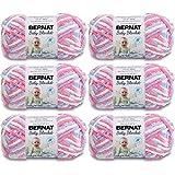 BERNAT Baby Blanket Yarn, 3.5oz, 6-Pack (Pink/Blue)
