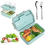 Sunshine smile Lunchbox Picknick,Lunchbox Kinder,Brotbox Kinder,Lunchbox mit Fächern,Brotdose Kinder,Lunchbox Box für Kinder(Grün2)