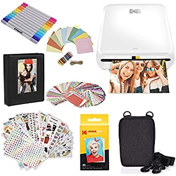 KODAK Step Printer Wireless Mobile Photo Printer with Zink Zero Ink Technology & Kodak App for iOS & Android  White  Gift Bundle
