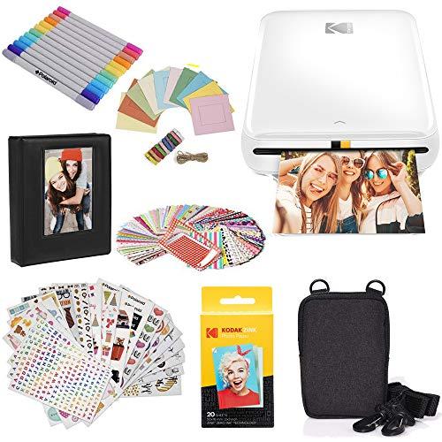 KODAKStepDrucker, Kabelloser mobiler Fotodrucker mit ZINK-Technik und gratis KODAK App für iOS und Android (Weiß) Geschenkpaket