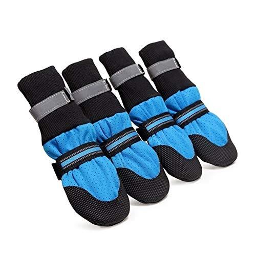 Z-Y hundeschuhe Pfotenschutz Hundeschuhe Große Fressnapf Schuhe Atmungsaktive Soft Bottom-Walking-Schuhe Rose Blau Gehen for Großen Reflective Polyester for Welpen #z (Color : Blue, Size : M)