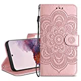 HianDier Wallet Case for Galaxy S20 Card Holder Case Kickstand Flip Cover Embossed Mandala Flower Lanyard Protective Soft PU Leather Cover Case for 6.2 Inch Samsung Galaxy S20, Rose Gold