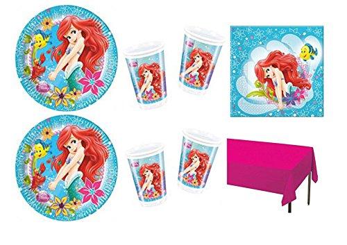 CDC Kit n° 10 Ensemble de table pour fête - Ariel la Petite Sirène (40 assiettes, 40 gobelets, 40 serviettes, 1 nappe)