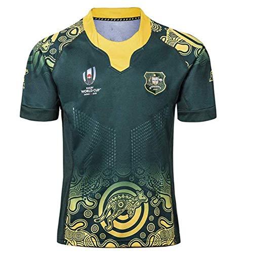 HANJIAJKL Weltmeisterschaft Australian Rugby Jersey,Rugby-Trikot für Männer,Kurzarm-Freizeit-T-Shirt-Trainingsanzüge,Grün,XXXL