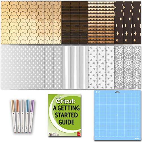 Cricut Machine Foil Embossed Paper, Metallic Marker Set, Blue Light GripMat and Beginner eGuide