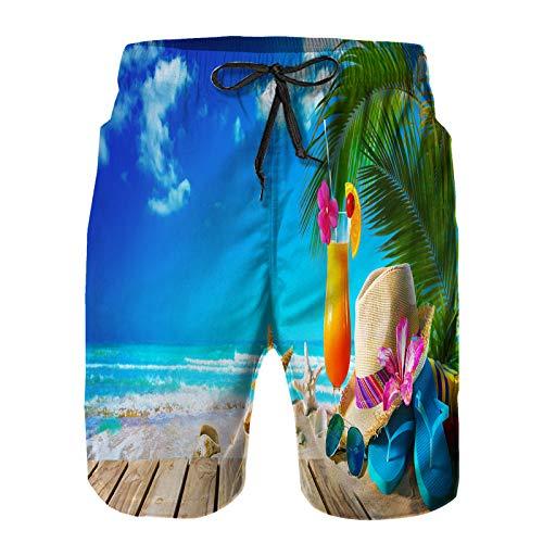Hombres Verano Secado rápido Pantalones Cortos Playa Sombrero de Paja, Gafas de Sol, cóctel, en, Arena Trajes de baño Correr Surf Deportes-S