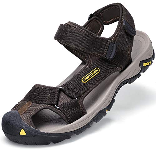 CAMEL CROWN Men's Waterproof Hiking Sandals Closed Toe Water Shoes Athletic Sport Sandals for Men Outdoor Beach Brown Size 8.5