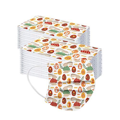Tomatoa 100 Stück Ostern Einmal-Mundschutz Erwachsene Osterhase Ostereier Motiv Bunt Drucken Verstellbarer Hängendes Ohr Staubschutz, Einweg Atmungsaktive Face Halstuch 3 lagig Staubs-chutz
