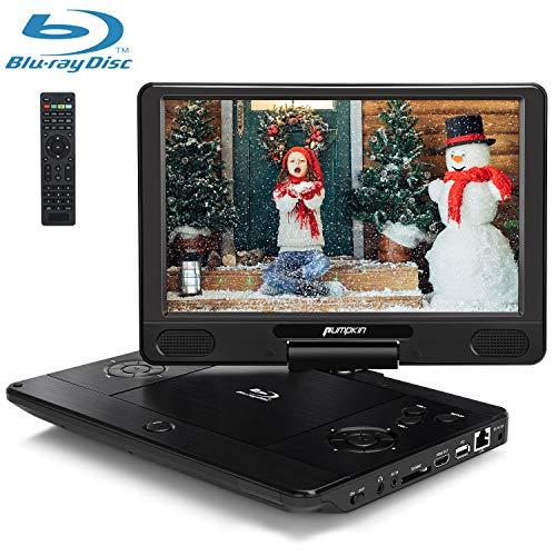 Pumpkin lettore blu ray DVD portatile 12 pollici per auto e casa, supporto uscita HDMI/ USB/ SD/ MMC/ i dischi blu-ray Full HD 1080P/ cavo AUX, 18 mesi di garanzia