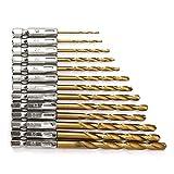 YEEZET 13 piezas HSS 1/4 ' Varilla hexagonal Juego de brocas helicoidales Cubierto de titanio 1,5 mm - 6,5 mm Cambio rápido Y008-03