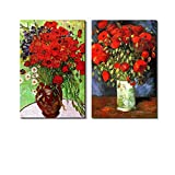 wall26 Famous Oil Painting Reproduction/Replica Set of 2 - Vase with Red Poppies & Daisies by Van Gogh Canvas Prints Wall Art/Ready to Hang Wrapped Canvas - 16'x24' x 2 Panels