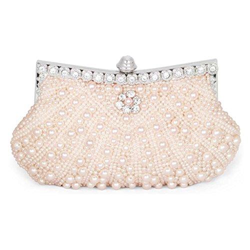 HONGCI Elegant Perle Strassstein Damen & Ladies Clutch Bag \ Clutch Evening Bag \ Bridal Bag \ Wedding Clutch Tasche Handtasche (Pink)