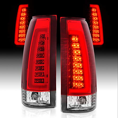 AmeriLite for 1988-1999 Chevy GMC C/K Full Size Tahoe Suburban Crystal Red C-Type LED Tube Tail Lights Set - Passenger and Driver Side