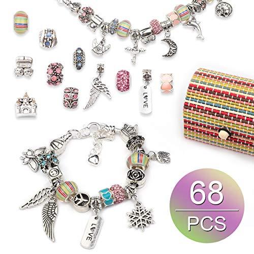 Dsaren 68 Pcs Jewellery Making Kit for Girls DIY Charm Bracelet Making kit with Jewellery Box Rainbow Silver Plated Beads Snake Chain Bracelet Make Your Own Jewellery for Girls