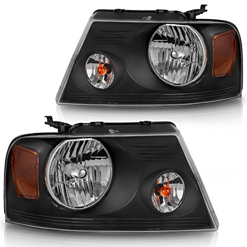 AUTOSAVER88 Headlight Assembly Compatible with 2004-2008 Ford F150 Pickup Black Housing Amber Reflector Clear Lens,Passenger & Driver side