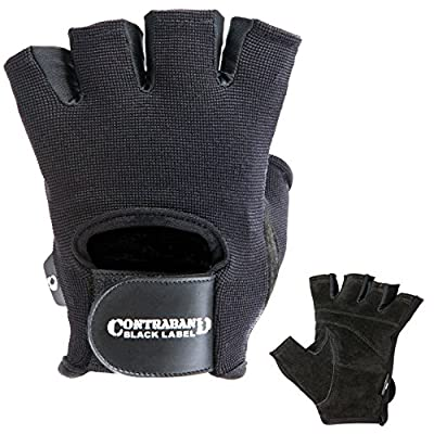 Contraband Black Label 5050 Mens Basic Leather Fingerless Weight Lifting Gloves - Durable Light - Medium Padded Split Leather Gym Gloves - Perfect Classic Lifting Gloves (Pair) (Black, Small)