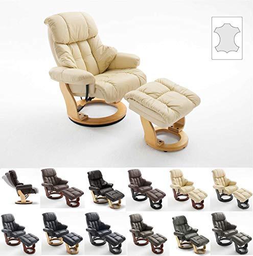 lifestyle4living Relaxsessel in Creme, Echtleder, Gestell 360° drehbar Natur Braun inkl. gepolstertem Hocker | Perfekter Sessel für entspannte Fernseh-Abende