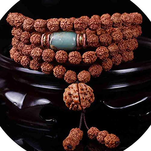 108 Bracelet Buddhist Beads Bodhi Prayer Tibetan Link Wrist Natural Rudraksha National Style Meditation Mala Wrap/Necklace Jewelry,A