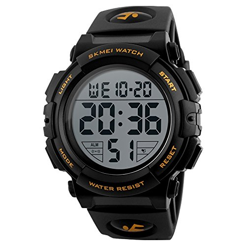 SKMEI Digital Black Dial Men's Watch-1258 Gold