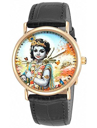 Precioso Bal Krishna Hindú Devotional arte coleccionable Unisex Reloj de pulsera; famoso Raja Ravi Varma impresión