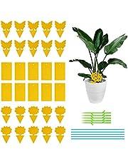 Plant Traps, 40 stuks kleverige vliegenvangers gemengde stijl gele sticker met insteekstok opknoping insecten sticker val plantenbescherming sticker voor doden muggen bladluizen, bladvliegen en mieren