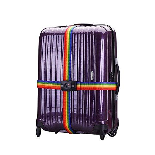 qobobo® TSA Nastro bagagli serratura di nastro bagagli cinghia dei bagagli a forma di Croce con Cinghie incrociate viaggio TSA sicurezza Cinghie per valigie - formato 210cm x 5 cm - 3 con linea combinazione della valigia di corsa Codice di blocco (Colore di rainbow)