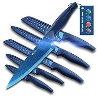 wanbasion 6 pezzi set di coltelli da cucina professionali chef, set coltelli da cucina acciaio inox,set coltelli da cucina alta qualità cuoco blu
