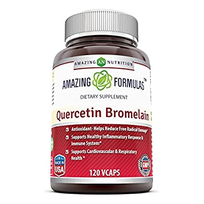 Amazing Nutrition- Quercetin 800 Mg with Bromelain 165 Mg, Vcaps - Supports Heart & Joint Health, Energy Production, Respiratory Health, Inflammatory Response