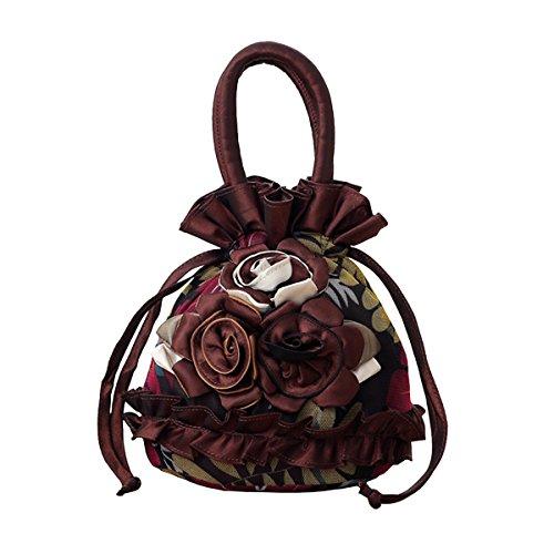 Womens Ladies Handbag Drawstring Bucket Bag Coin Purses Key Bags Cash Money Phone Pouches - Brown