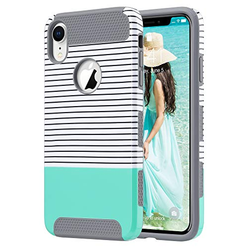 ULAK iPhone XR Case, Slim Hybrid Hard PC Shell Shockproof Phone Case for Women, Anti-Scratch Protective Bumper Cover for iPhone XR 6.1 Inch, Mint Stripes