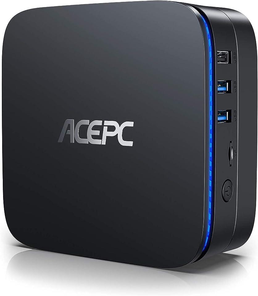 Mini PC Windows 10 Pro 8GB RAM 256GB ROM Intel Celeron J3455 Micro Desktop Computer, Dual HDMI Support for mSATA 2.5 Inch SSD/HDD, 4K, Dual Band WiFi