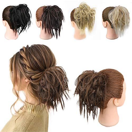 FORCUTEU Messy Bun Hair Piece Tousled Updo Hair Piece Scrunchies Synthetic Wavy Bun Extensions Rubber Band Elastic Scrunchie Chignon Instant Ponytail for Women(8#)
