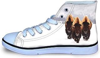Canvas High Top Sneaker Casual Skate Shoe Boys Girls Smiling Jurassic Tyrannosaurus Rex