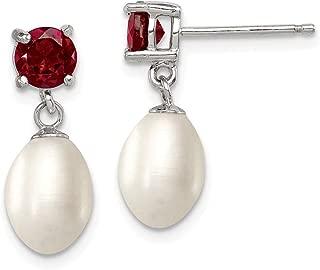925 Sterling Silver Red Garnet 8mm Freshwater Cultured Pearl Teardrop Post Stud Earrings Drop Dangle Fine Jewelry Gifts For Women For Her