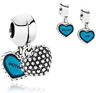 EVESCITY 2pcs Mother Son Love Me and You Silver Charm Sterling Bead Pendant Compatible with Popular Charms Bracelets ♥ Best Jewelry Gifts for Her Women Children Blue ♥