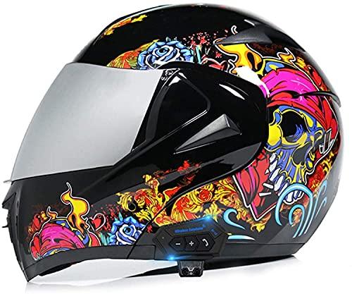 WANGFENG Casco completo de motocicleta con Bluetooth para mujer, con visera doble, aprobada por DOT, con estampado (blanco y negro)