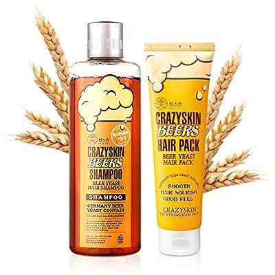 CRAZY SKIN Beer Shampoo & Hair Pack SET - pH 5.5 German Beer Yeast Hair Care Set, Rich in Biotin, Anti Hair Loss
