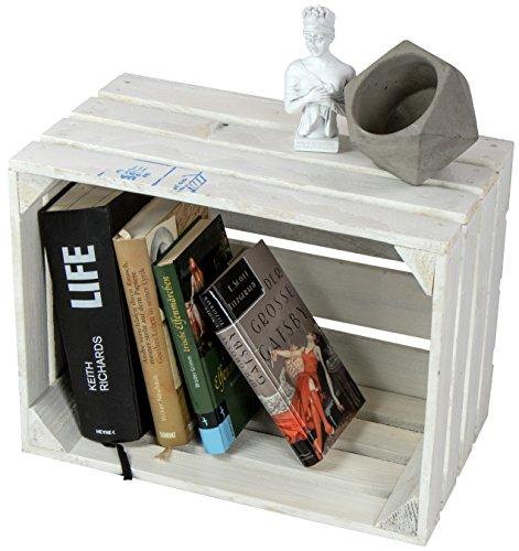 LAUBLUST Große Vintage Holzkiste - 40x30x25cm, Weiß Lackiert, Neu, Unbenutzt | Möbel-Kiste | Wein-Kiste | Obst-Kiste | Apfel-Kiste | Deko-Kiste aus Holz
