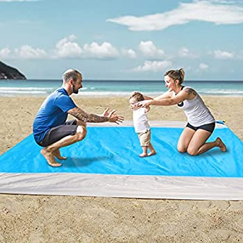 Beach Blanket OUSPT Sand Free Picnic Outdoor Mat- 79  ×83   - Pocket Zippered Portable Waterproof Soft Fast Drying Oversize Blanket for 4-7 Persons Travel Camping Hiking  Blue