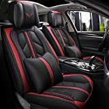 otoez Leather Car Seat Covers Full Set Universal Auto Seat Cover Faux Leather Front Rear Bench Cover Protector Fit Hyundai Sonata Toyota Coralla Camry Honda Accord Civic VW Chevy Malibu (Red)