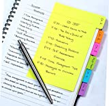 Divider Sticky Notes, Tabbed Self-Stick Lined Note Pad, 60 Ruled Notes, 4 x 6 Inches, Assorted Neon Colors (29500) - 1