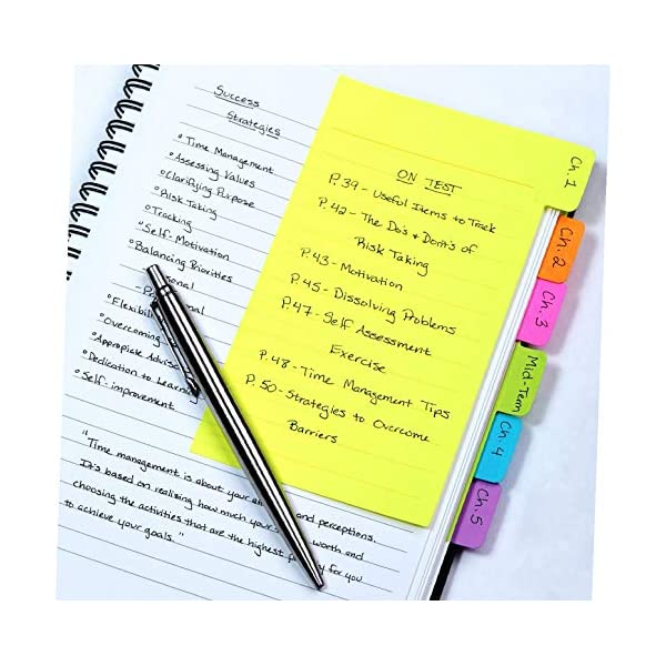 Divider Sticky Notes, Tabbed Self-Stick Lined Note Pad, 60 Ruled Notes, 4 x 6 Inches,...