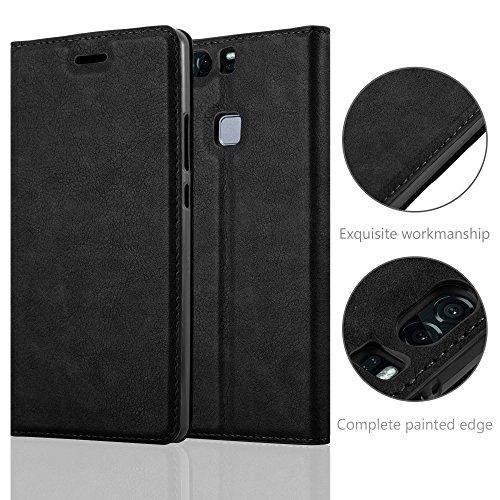 Cadorabo Hülle für Huawei P9 Plus - Hülle in Nacht SCHWARZ – Handyhülle mit Magnetverschluss, Standfunktion und Kartenfach - Case Cover Schutzhülle Etui Tasche Book Klapp Style - 6
